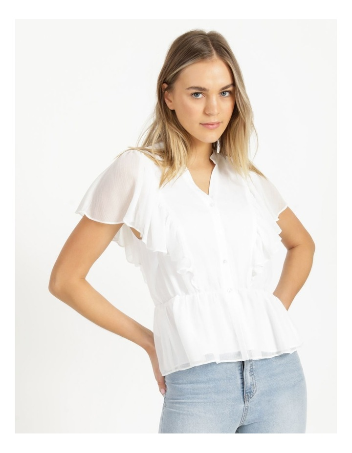Button Through Flutter Sleeve Top White image 3