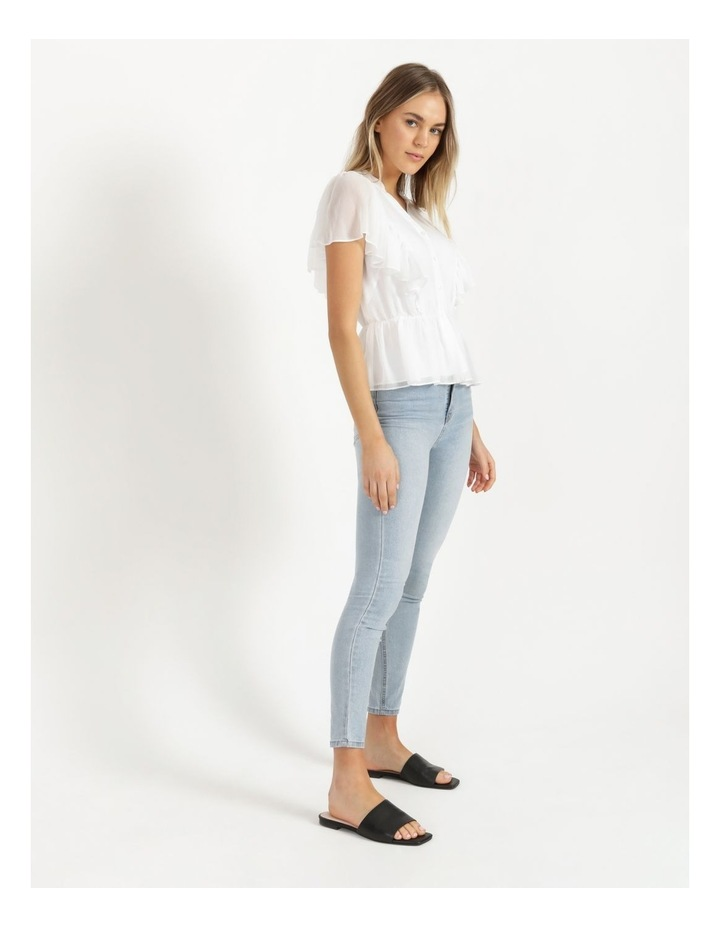 Button Through Flutter Sleeve Top White image 4