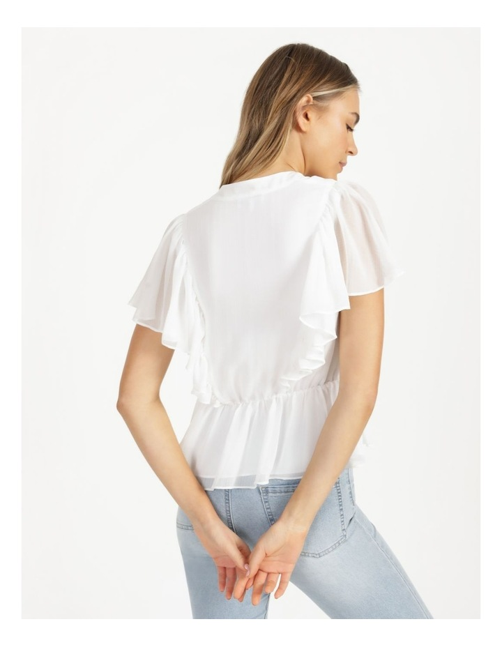Button Through Flutter Sleeve Top White image 5