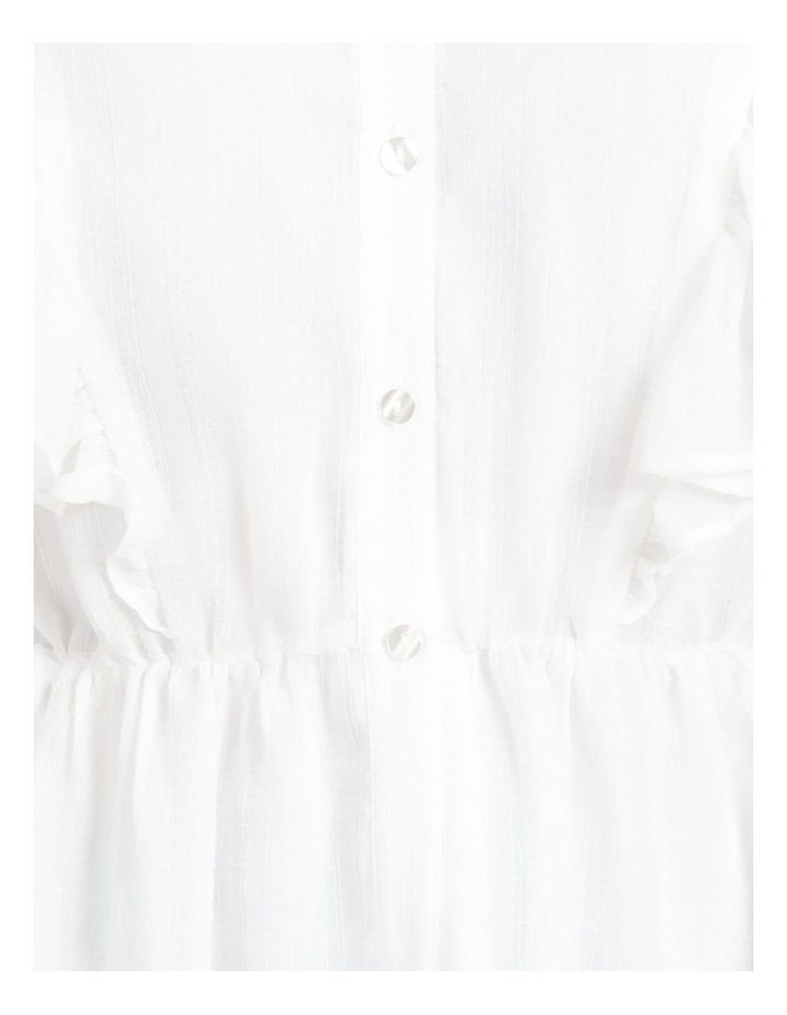 Button Through Flutter Sleeve Top White image 7