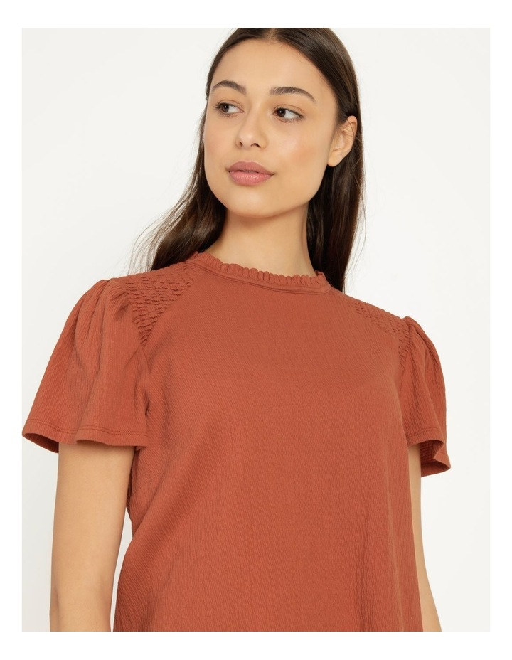 Shirred Detail Crew Neck Top Rust image 1