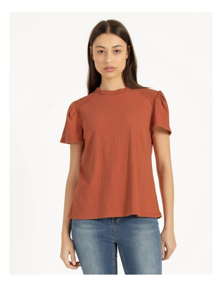 Shirred Detail Crew Neck Top Rust image 2