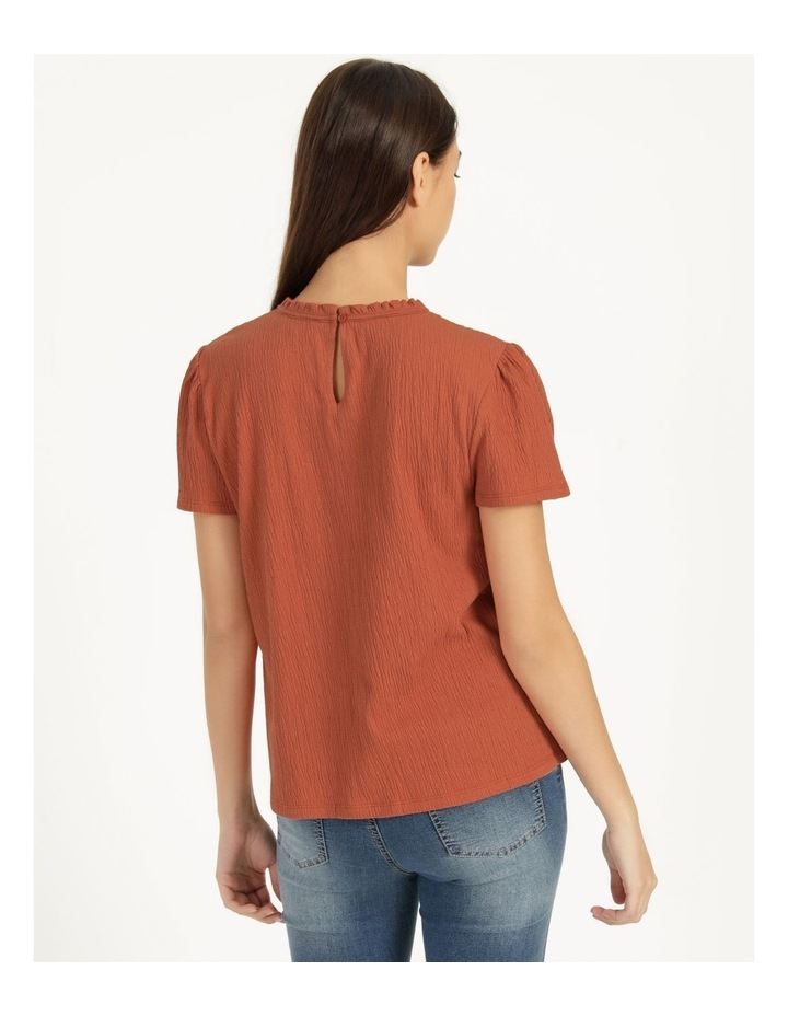 Shirred Detail Crew Neck Top Rust image 5