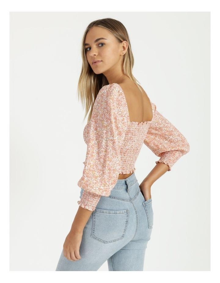 Peach Shirred Blouson Sleeve Crop Top image 3