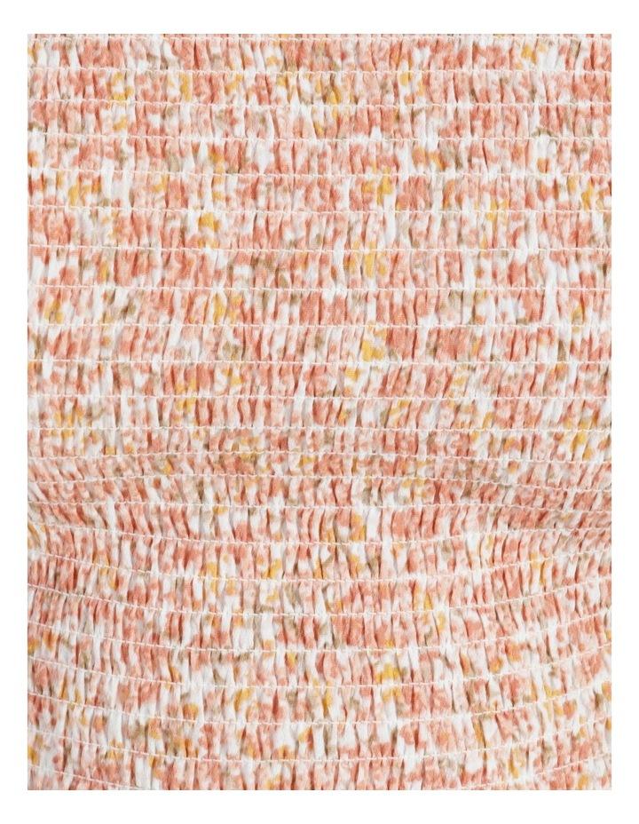 Peach Shirred Blouson Sleeve Crop Top image 5