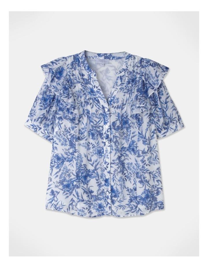 Puff Sleeve Pintuck Blouse Blue image 1