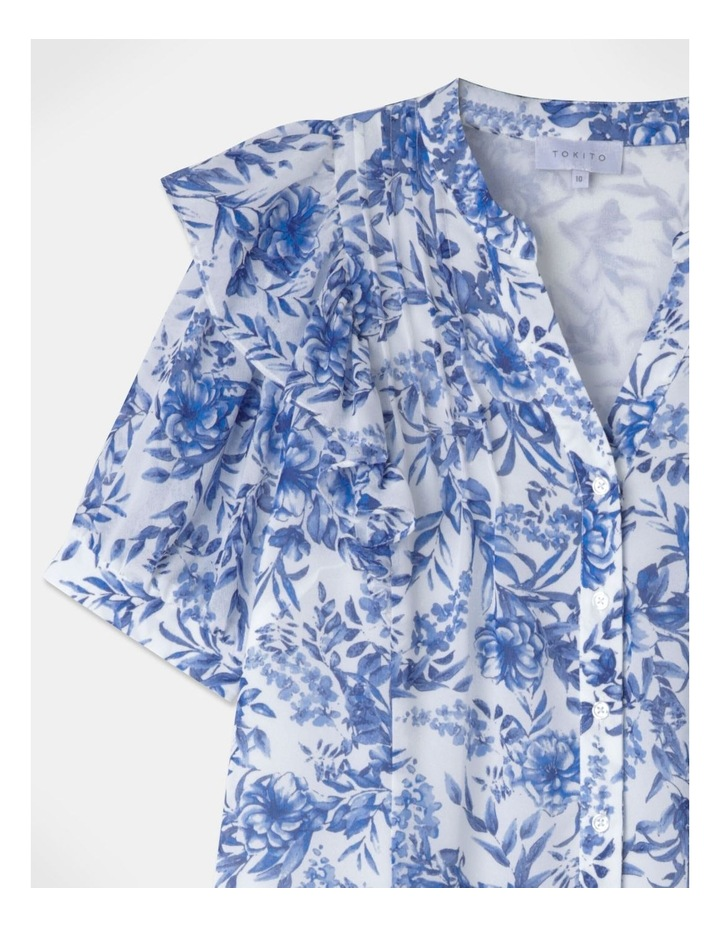 Puff Sleeve Pintuck Blouse Blue image 2