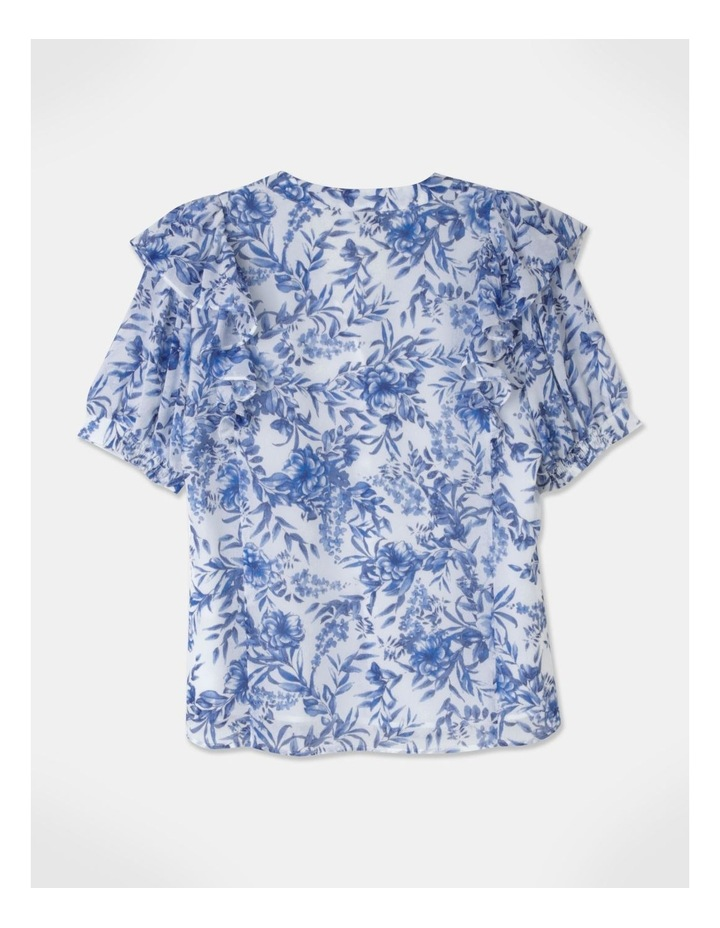 Puff Sleeve Pintuck Blouse Blue image 3