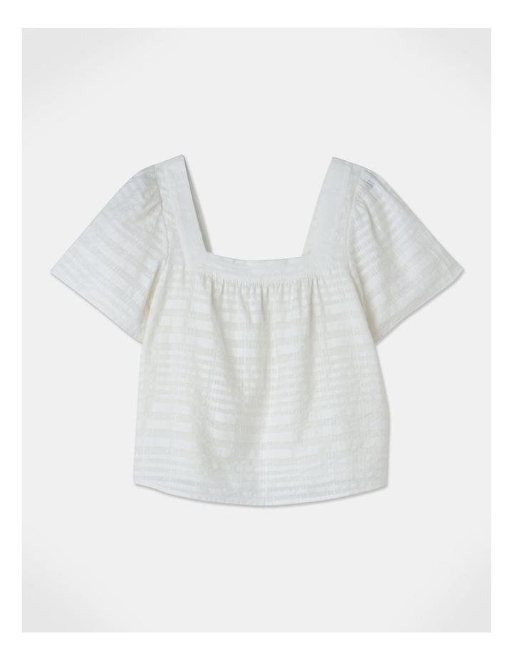 Square Neck Cotton Blend Top Sheer Stripe image 1