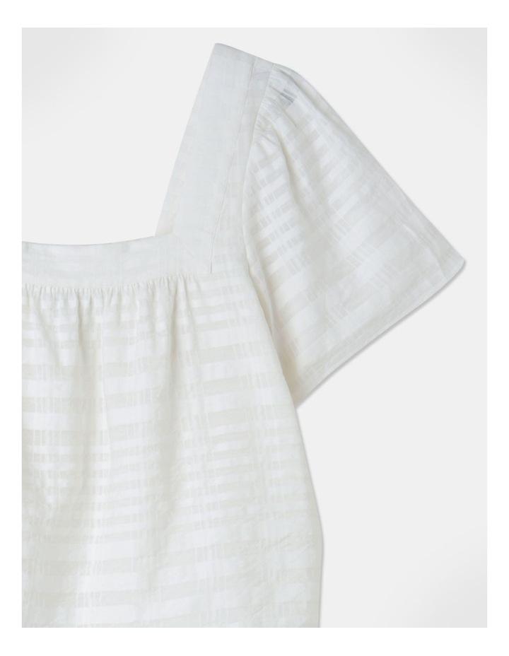Square Neck Cotton Blend Top Sheer Stripe image 2