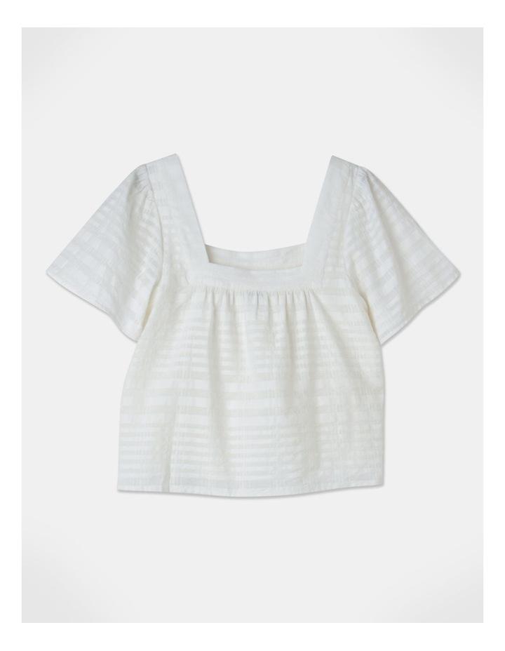 Square Neck Cotton Blend Top Sheer Stripe image 3