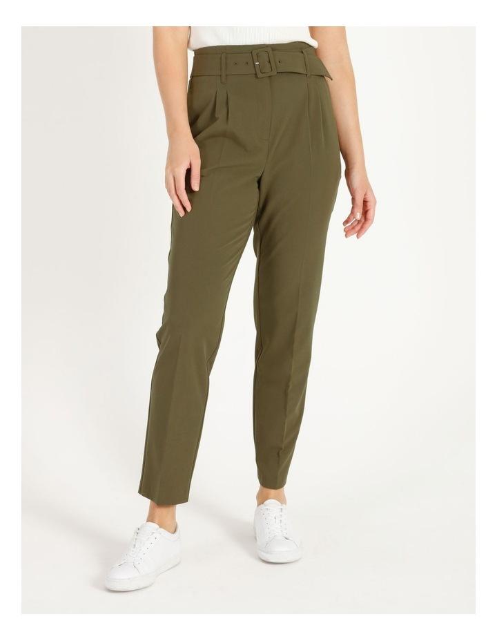 High Waist Tapered Belt Pants image 1