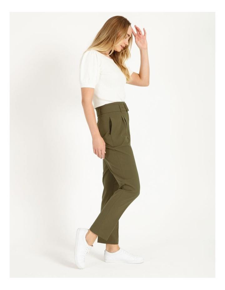 High Waist Tapered Belt Pants image 3