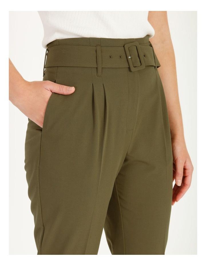 High Waist Tapered Belt Pants image 6