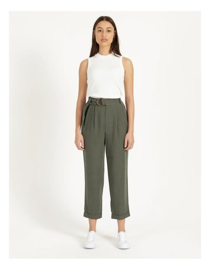 Belt Detail Elastic Tapered Pants Olive image 1