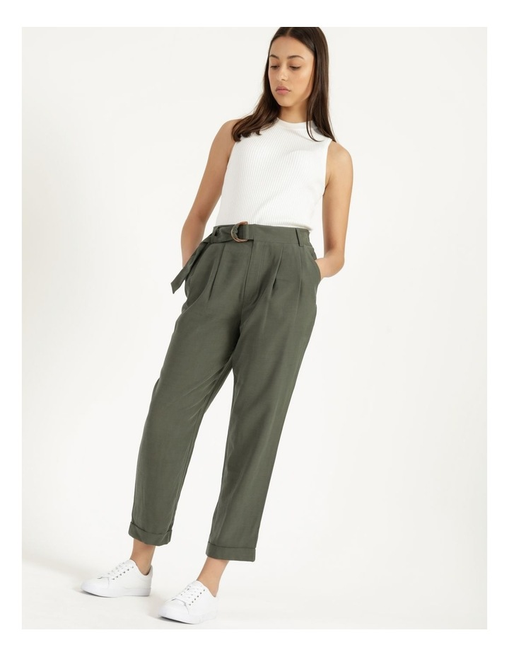 Belt Detail Elastic Tapered Pants Olive image 2