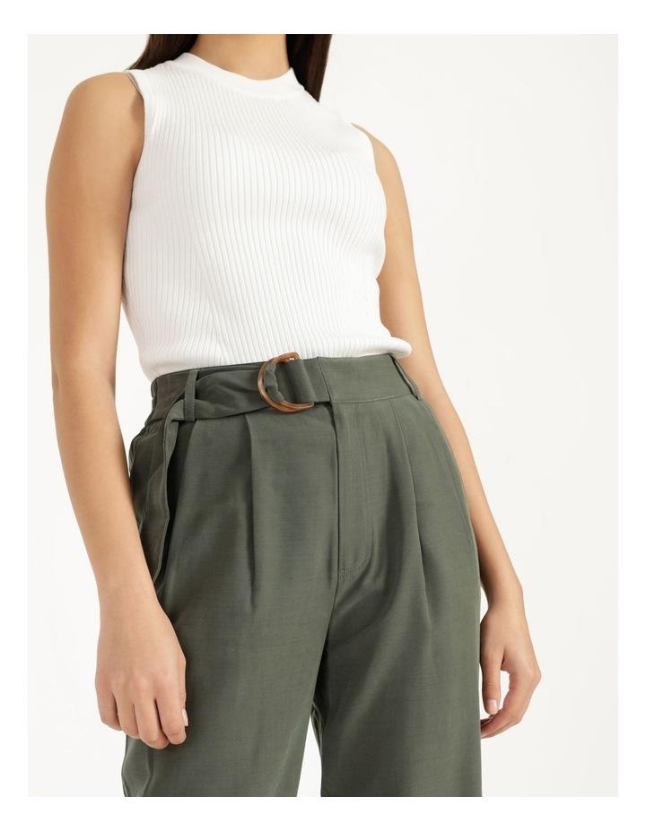 Belt Detail Elastic Tapered Pants Olive image 3
