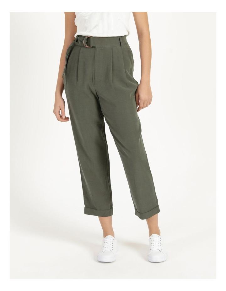 Belt Detail Elastic Tapered Pants Olive image 4