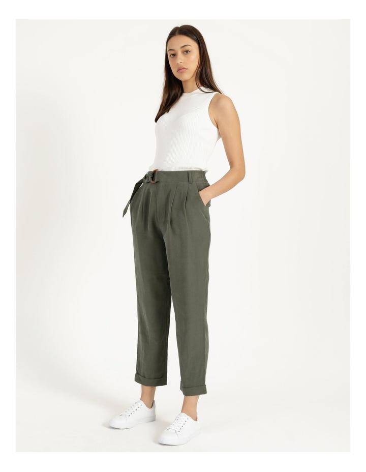Belt Detail Elastic Tapered Pants Olive image 5