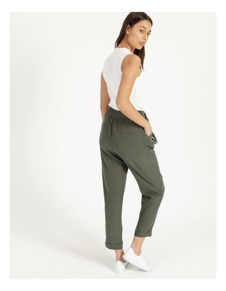 Belt Detail Elastic Tapered Pants Olive image 6