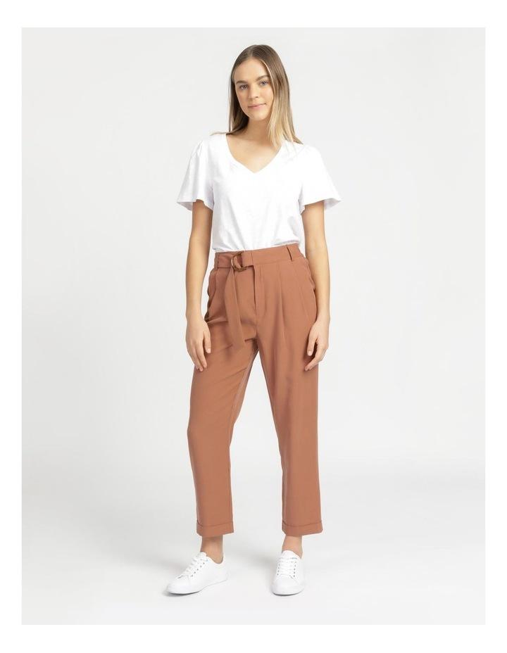 Belt Detail Elastic Tapered Pants Cinnamon image 1