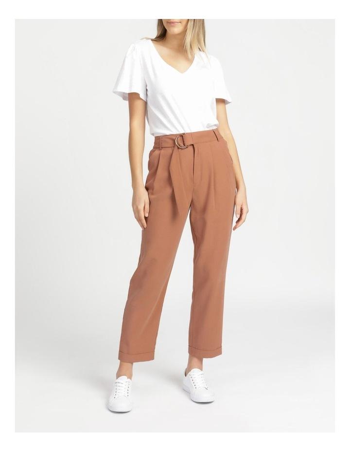 Belt Detail Elastic Tapered Pants Cinnamon image 2