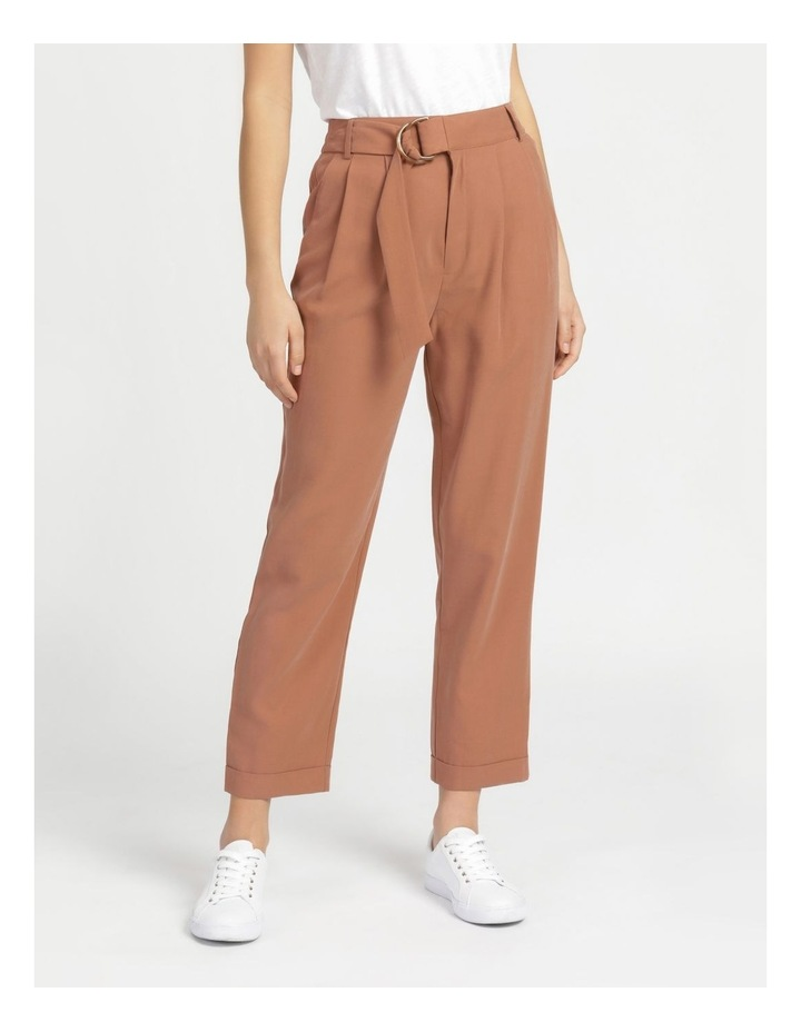 Belt Detail Elastic Tapered Pants Cinnamon image 3