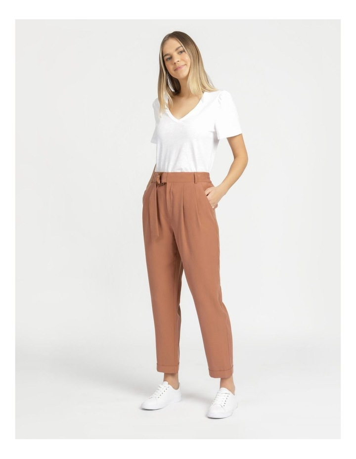 Belt Detail Elastic Tapered Pants Cinnamon image 4