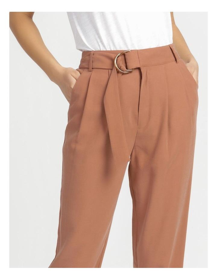 Belt Detail Elastic Tapered Pants Cinnamon image 5