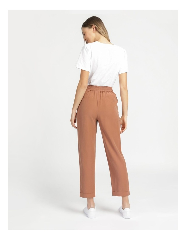 Belt Detail Elastic Tapered Pants Cinnamon image 6