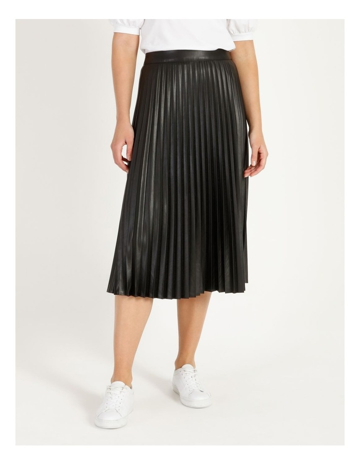 Faux Leather Pleat Skirt image 1