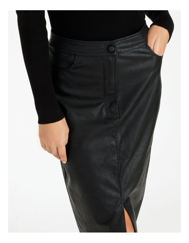 Faux Leather Midi Skirt image 4