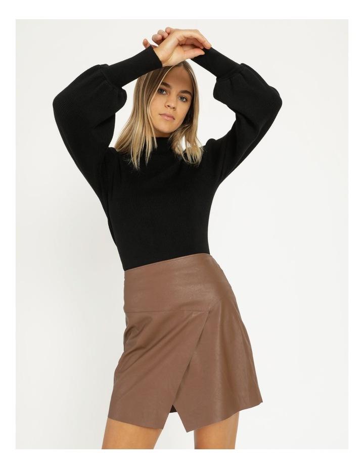 Faux Leather A-Sym Mini Skirt image 1