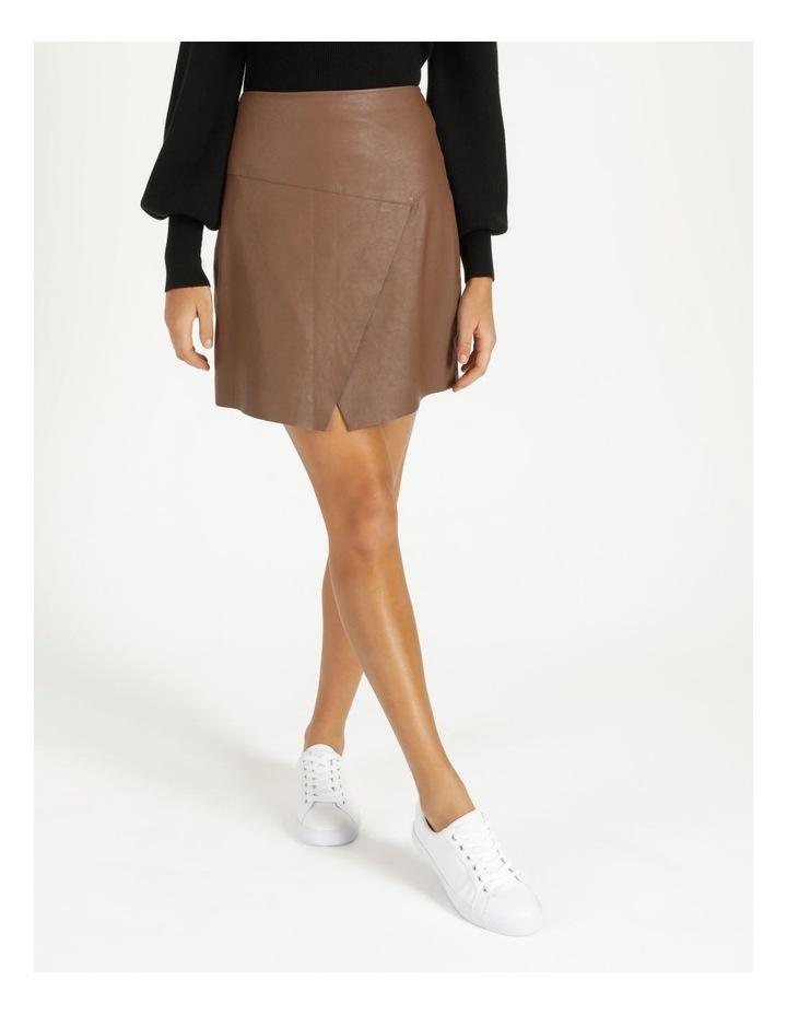 Faux Leather A-Sym Mini Skirt image 2
