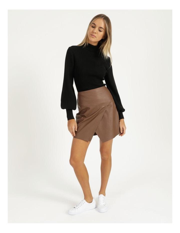 Faux Leather A-Sym Mini Skirt image 3