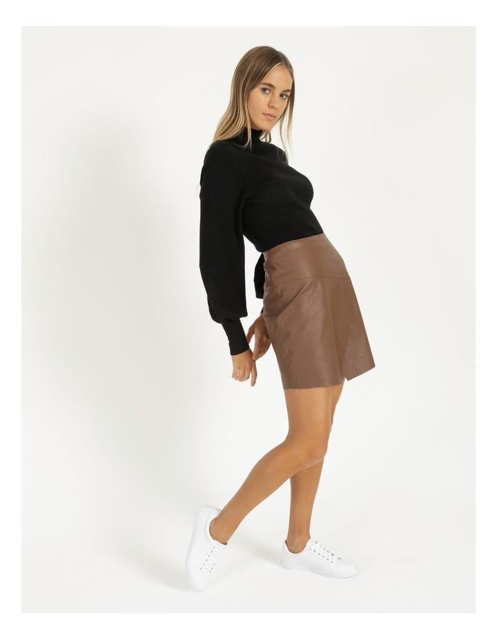 Faux Leather A-Sym Mini Skirt image 4