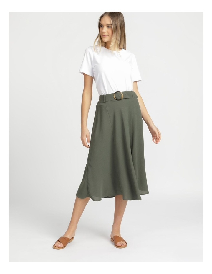 A-Line Belted Midi Skirt image 1