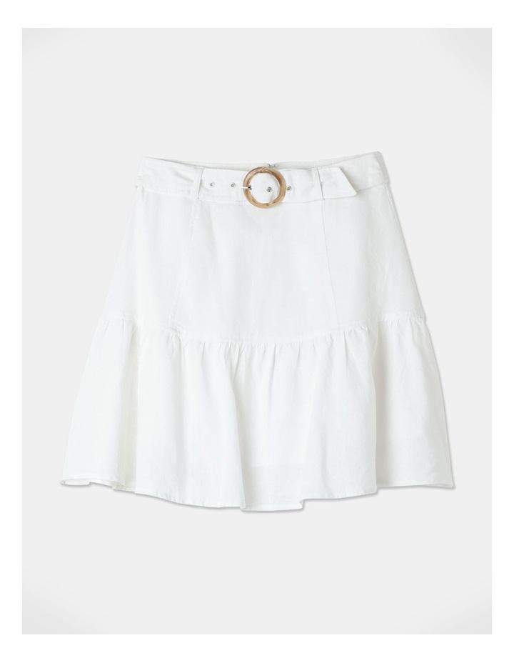 Linen Blend Fit & Flare Mini Skirt White image 1