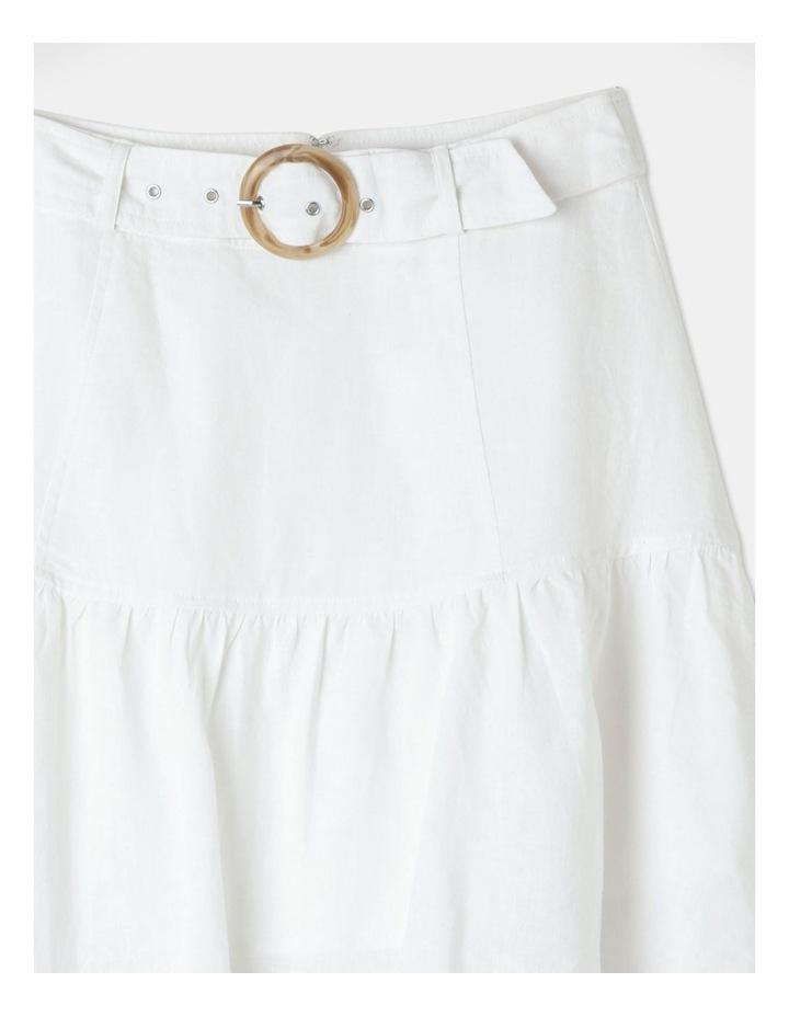 Linen Blend Fit & Flare Mini Skirt White image 2