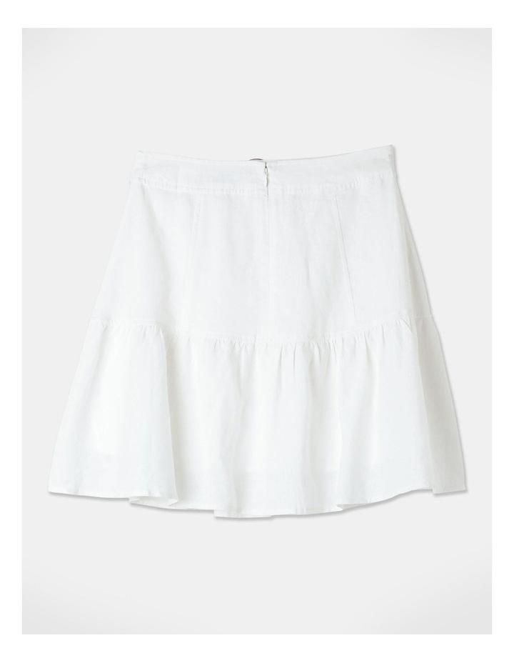 Linen Blend Fit & Flare Mini Skirt White image 3