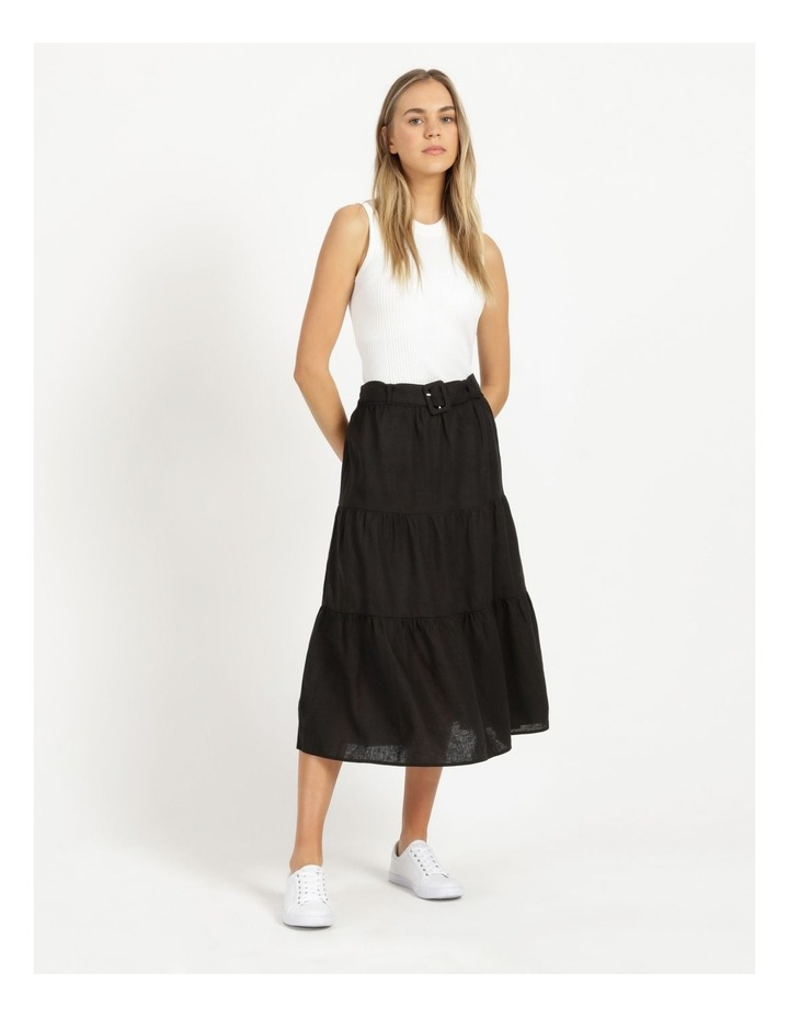 Linen Blend Tiered Midi Skirt image 1