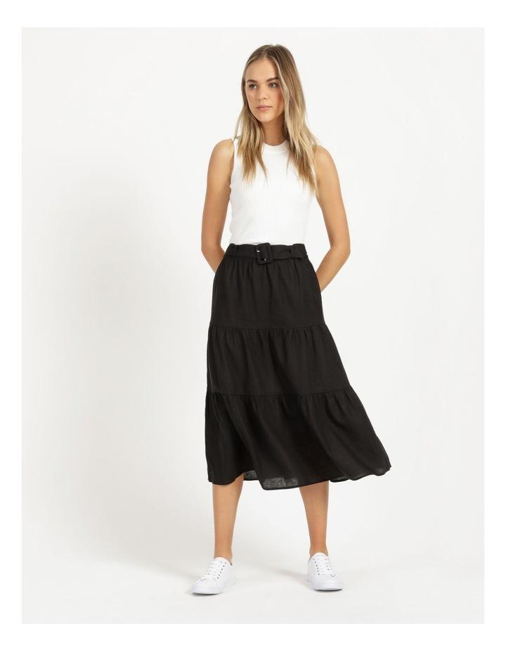 Linen Blend Tiered Midi Skirt image 3