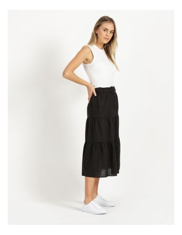 Linen Blend Tiered Midi Skirt image 4