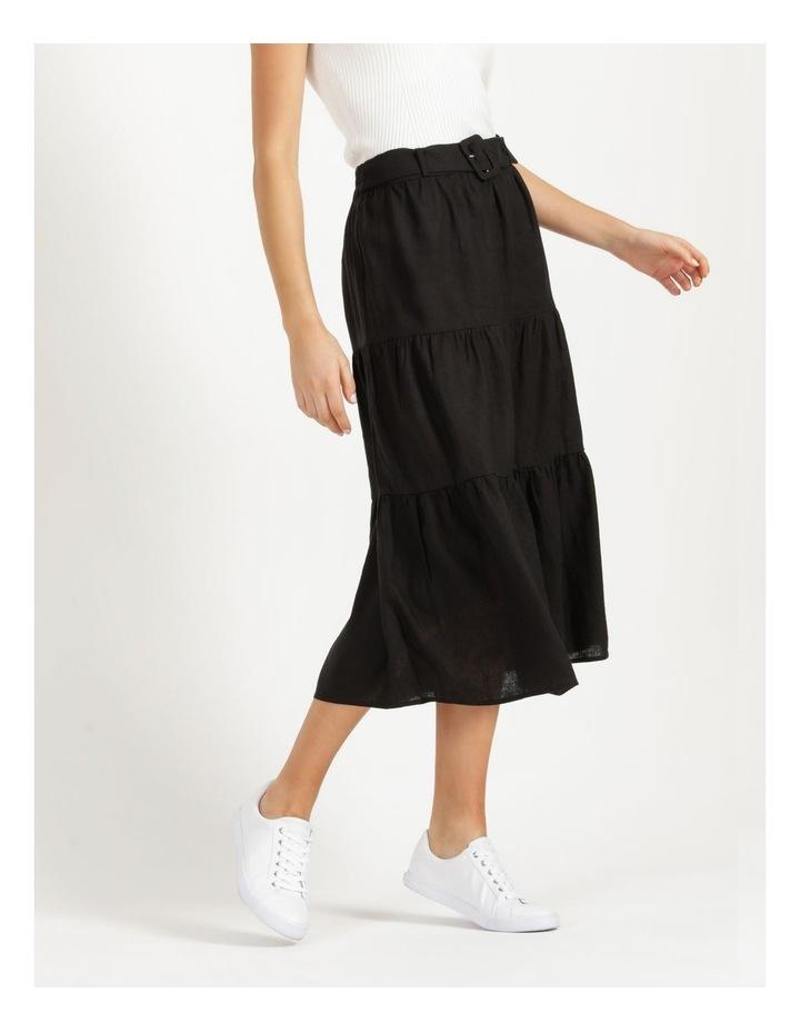 Linen Blend Tiered Midi Skirt image 5