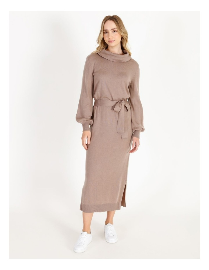 Blouson-Sleeve Wool Blend Knitted Dress image 1