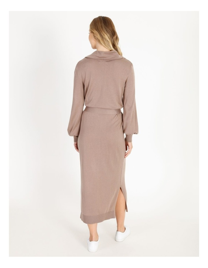 Blouson-Sleeve Wool Blend Knitted Dress image 3