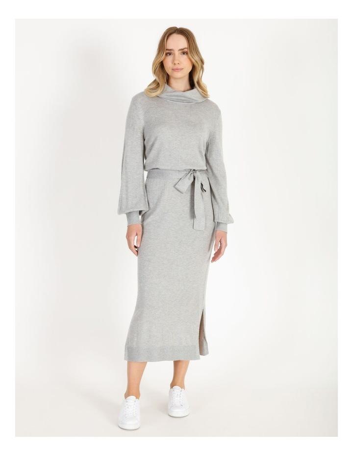Blouson-Sleeve Wool Blend Knitted Dress image 1