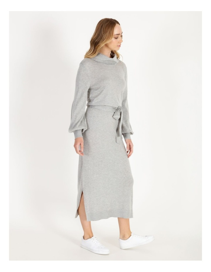 Blouson-Sleeve Wool Blend Knitted Dress image 2