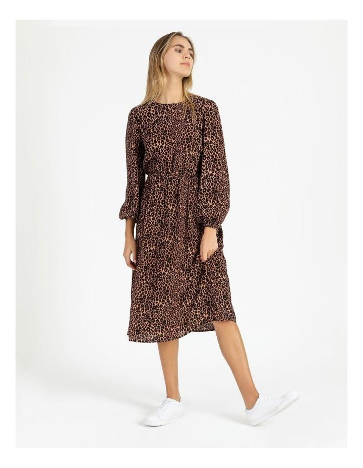 Crepe Blouson Sleeve Midi Dress image 1