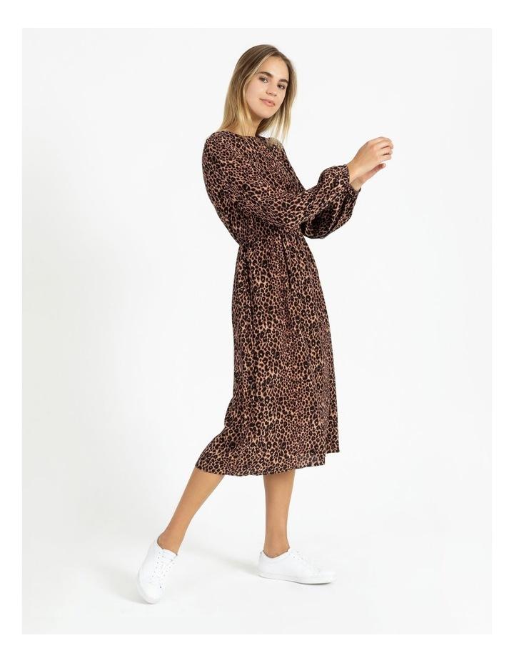 Crepe Blouson Sleeve Midi Dress image 2